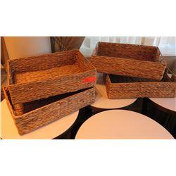 Qty 4 Woven Rectangle Baskets w/ Handles 21 L x 14 W