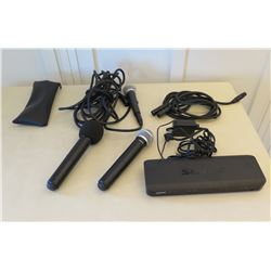 Qty 3 PG58 Microphones w/ Cords, Case & Shure BLX88 J10 Wireless Receiver