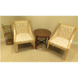 Qty 2 Wooden Upholstered Chairs w/ Round Side Table & Round 3-Tier Shelf