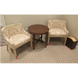 Qty 2 Wood & Upholstered Chairs & Round Wooden Side Table