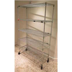 "Rolling 4-Tier Metal Wire Shelving Unit 48""L x 18""W x 77""H"
