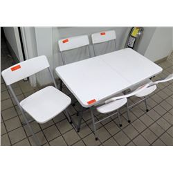 Plastic Rectangle Folding Table w/ 5 Folding Chairs
