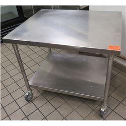 Rolling Stainless Steel Utility Table w/ Undershelf 42 L x 32 W x 36 H