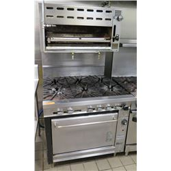 Montague 6-Burner Gas Range & Oven w/ Salamander Heater