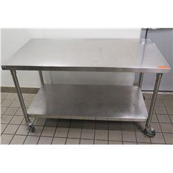 """Rolling Utility Table w/ Undershelf 60""""L x 30""""W x 36""""H"""