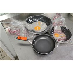 Qty 3 Arkadia Non-Stick Frying Pans 8  & 12