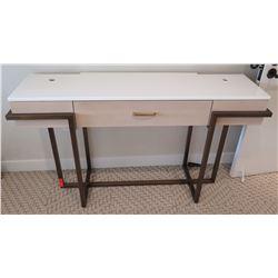 """White Laminate Desk & Metal Base 61"""" x 18"""" x 36""""H"""