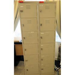 """Qty 2 Metal 6-Compartment Locker Unit 15""""L x 18""""W x 72""""H"""