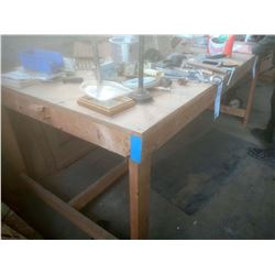 4 X 8 X 38 IN. TALL WOODEN WORK TABLE, LIKE-NEW