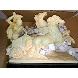 ITALIAN ALABASTER HORSE ROMAN GLADIATOR CHARIOT  RETAIL $399.00 EACH