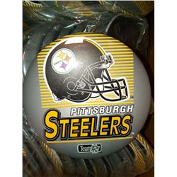 """6"""" X 6"""" PITTSBURGH STEELERS JUMBO BUTTON WITH  DISPLAY STAND, RETAIL $14.99  EA."""