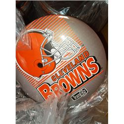 """6"""" X 6"""" CLEVELAND BROWNS JUMBO BUTTON ON DISPLAY STAND, RETAIL $14.99 EA."""