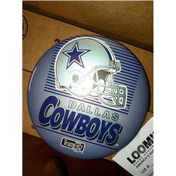 "6"" X 6"" DALLAS COWBOYS JUMBO BUTTON ON DISPLAY STAND, RETAIL $14.99 EA."