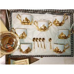 ELECTRO PLATED GOLD FINE ITALIAN CHINA SERVING SET W/ STORAGE CASE / RETAIL $399.00