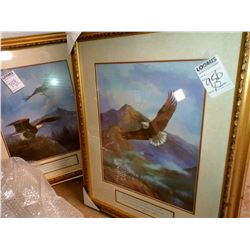 SET OF 2/ CHRISTIAN  ART WITH VERSE EAGLE FLYING RETAIL $99.00