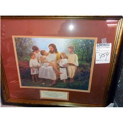 MATTHEW 19 : 14 WITH CHILDREN PRINT WOOD FRAME RETAIL $89.00