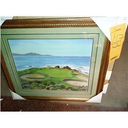 23.5'' x 27'' SEASIDE GOLF COURSE  DOUBLE MAT WOOD FRAME RETAIL $79.00