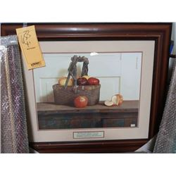 30.5'' x 36'' LARGE KITCHEN STILL LIFE WOOD FRAME RETAIL $139.00