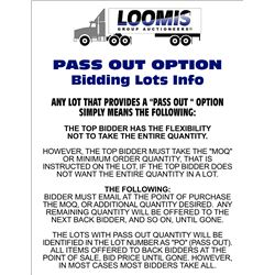 INFO ON THE LARGE LOTS OFFERS/ SILENT BIDS/ PASS OUT BIDDING