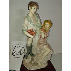 HAND PAINTED RESIN MAN & WOMAN ON WOOD BASE RETAIL $129.00