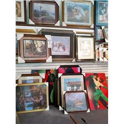 ASSORT FRAMED SHOW ROOM ART ASSORT SIZES RETAIL $119.00 EACH