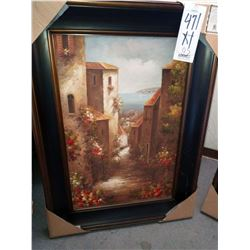 48'' x 33'' CERTIFIED OIL PAINTING IN WIDE FRAME RETAIL$399.00