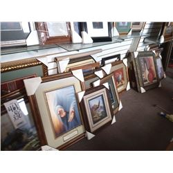 LARGE ASSORT FRAMED ART WOOD/GLASS RETAIL $179.00