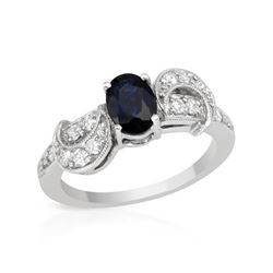 Natural 1.19 CTW Sapphire & Diamond Ring 18K White Gold - REF-83T7X