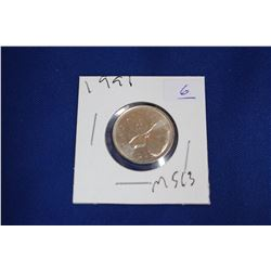 Canada Twenty-five Cent Coin (1) - 1991; MS63