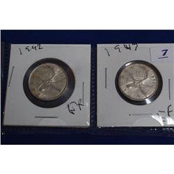 Canada Twenty-five Cent Coins (2) - 1942, 1947; Silver; EF