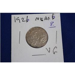 Canada Five Cent Coin (1) - 1926; Near 6; VG