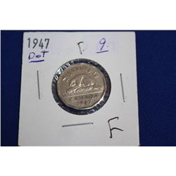 Canada Five Cent Coin (1) - 1947 Dot; F