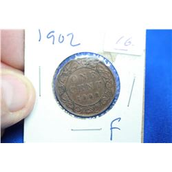 Canada One Cent Coin (1) - 1902, F