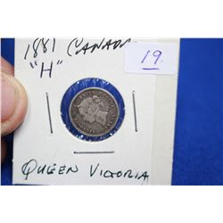 Canada Five Cent Coin (1) - 1881H, Silver