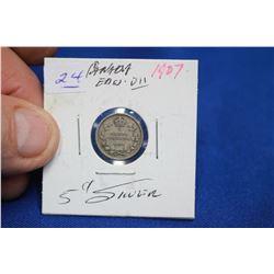 Canada Five Cent Coin (1) - 1907; Silver