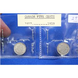Canada Five Cent Coins (2) - 1971, 1919; Silver