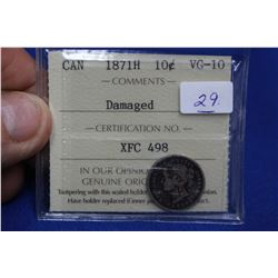 Canada Ten Cent Coin (1) - 1871H; Graded by ICCS, VG-10; Silver