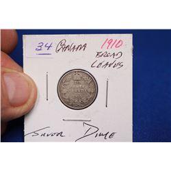 Canada Ten Cent Coin (1) - 1910; Silver
