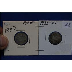 Canada Ten Cent Coins (2) - 1933, 1934 EF; Silver