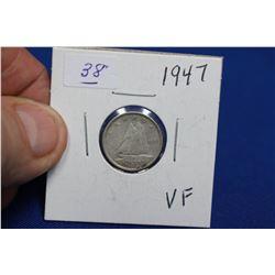 Canada Ten Cent Coin (1) - 1947; VF; Silver