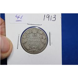 Canada Twenty-five Cent Coin (1) - 1913; Silver