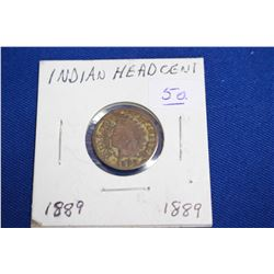 U.S.A. One Cent Coin (1) - 1889; Indian Head