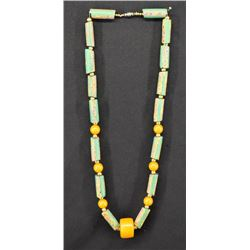 TRADE BEAD AND AMBER NECKLACE