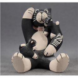 COCHITI INDIAN POTTERY CAT STORY TELLER (DOROTHY HERRERA)