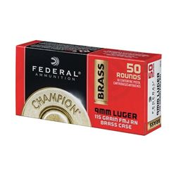 FED CHAMP 9MM 115GR FMJ BRS - 50 Rds