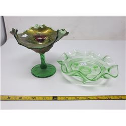 2 green glass candy dishes