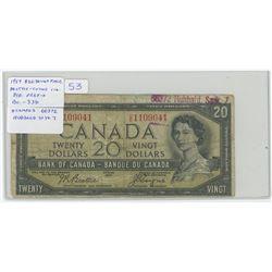 1954 $20 Devil's Face $20 note. Beattie-Coyne signatures. D/E Prefix. BC-33b. Ink Stamped 66372 Hubb