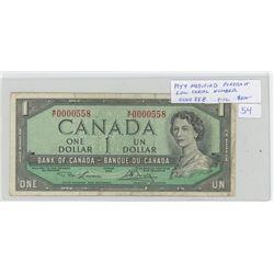 1954 $1 Modified Protrait.Low Serial Number: 0000558. Lawson-Bouey signatures. W/F Prefix. BC-37d.