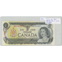 1973 $1 BAX Replacement Note. Serial Number BAX1212271. Crow-Bouey signatures. BC-46bA. Unc.