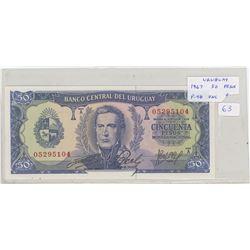 Uruguay. Central Bank of Uruguay. 1967 50 Pesos. Founding of Uruguay. P-46. Unc.